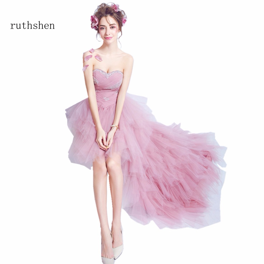 ruthshen Real Photos In Stock Pink Strapless Sweetheart Neck Evening Dresses New Luxury Ruffles Evening Dress Sleeveless 2018(China)