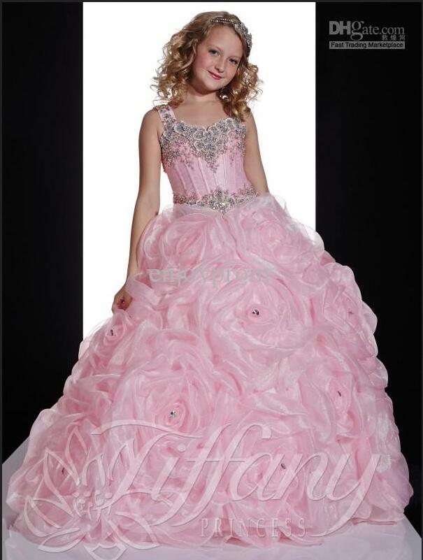 Заказ Дешевые Розовый Милая Big Hand Made Цветы Сияющий Блестками Бисером Цветок Девочки Платья Младенческой Glitz Pageant Платья(China)