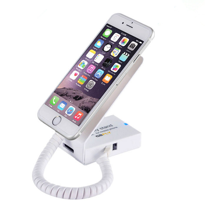 sold in 10 set small size L shape white color aluminium material against theft alarm holder for ios android smart phone<br>