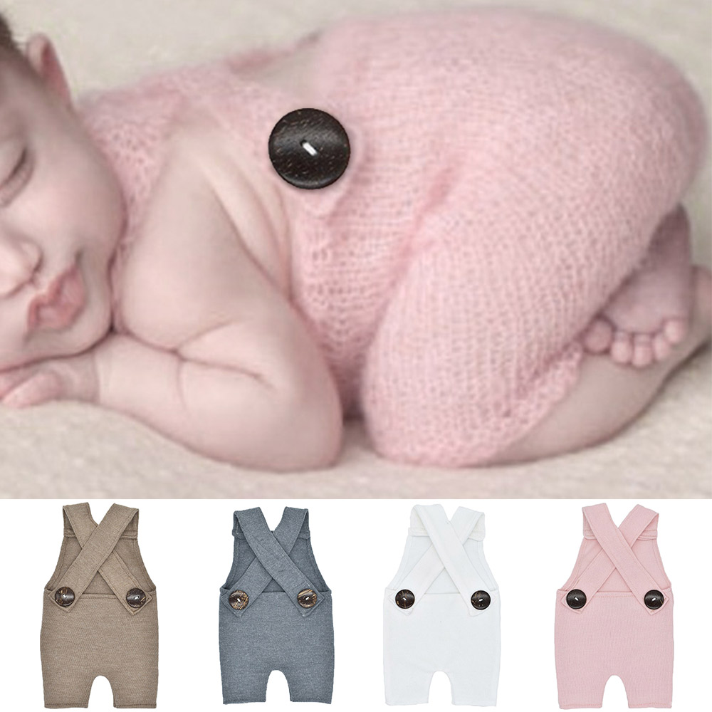 Photography Prop Button Overalls Pants Photo Shoot-Romper Outfit Newborn Baby