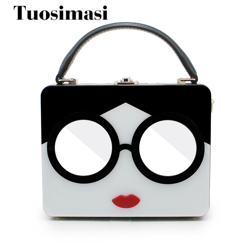large tote bag plastic women handbag clutch bag cartoon girl shoulder bag hard box with mirror glasses<br>