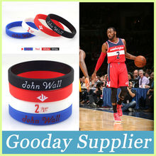 4pcs/lot John Wall Silicone Bracelets for Basketball Free Shipping black,red,white,blue sport wristband Soft men rubbr bangle