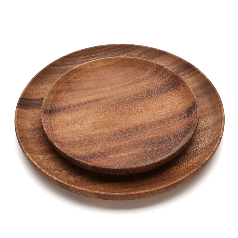 Round Wooden Plates High Quality Acacia Wood Serving Tray Cake Dishes Tableware Plate for Dessert Salad 2 Sizes Wood Utensils (2)