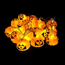 3M 16pcs Pumpkin Halloween String Lights yellow color AA battery power Props Decorations Supplies Home Party Decor