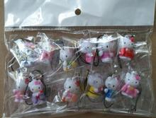 Free Shipping 12pcs/set Cartoon Hello Kitty  key chain Action Figures Cell Phone Strap Charms For Best Gifts G-44