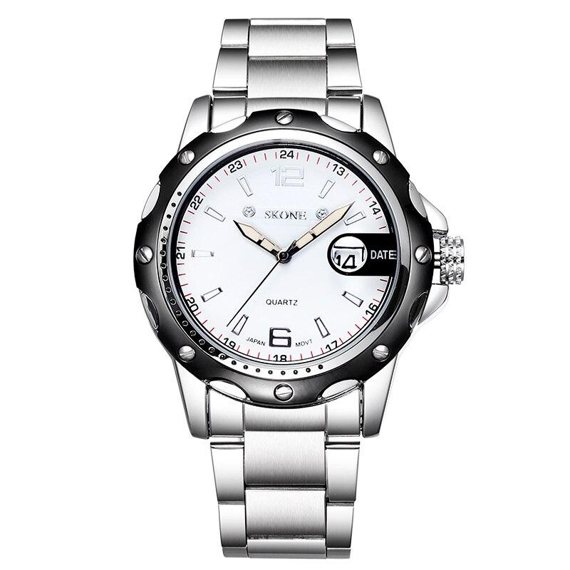 Watch Men SKONE Auto Date Fashion Business Watches Luxury Mens Watches Silver Steel Quartz Watch Male Relogios erkek kol saati<br>