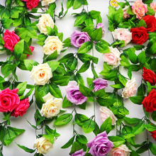 250cm Artificial Flowers Silk Rose Vines Wedding Home Party Decoration Touch Christmas New Year Flower Plastic Plant Vine V316