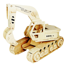 A Kids Toys Of 3d Puzzle Wooden Toys For Children The Excavator & Dump Truck Best Montessori Educationaly Diy Toy As A Good Gift(China)
