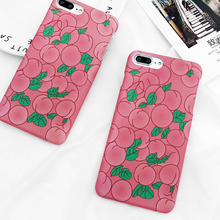 LOVECOM Cute Pink Peaches Phone Cases For iPhone 6 6s Plus Matte Hard Plastic Half-wrapped Back Cover Coque