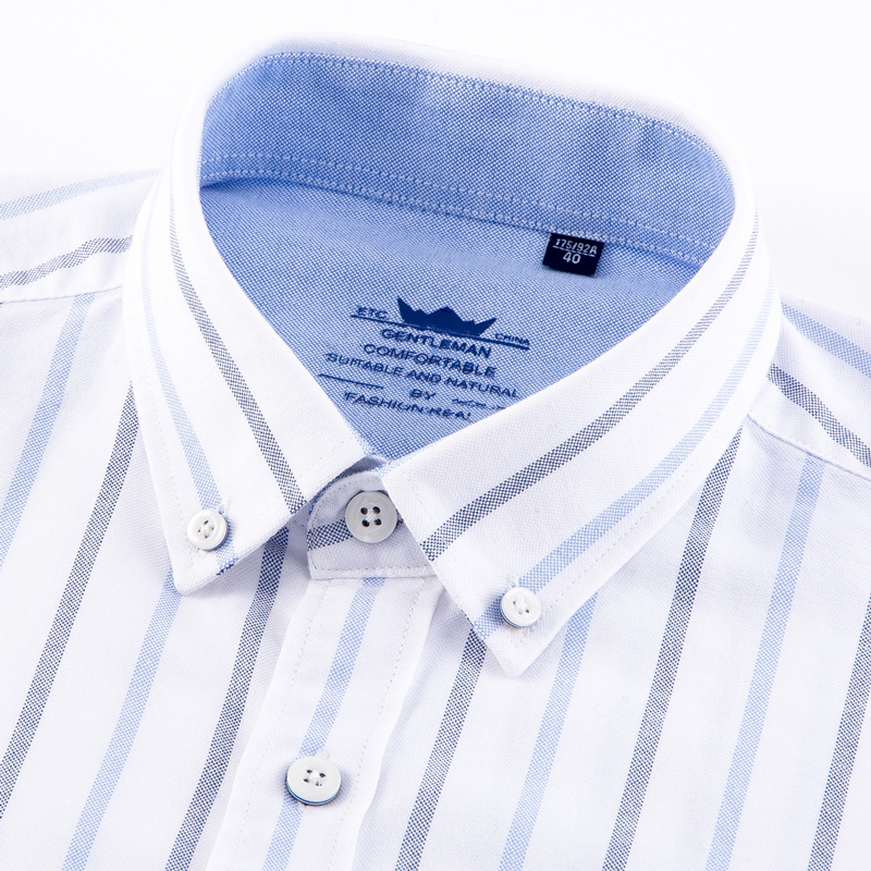 Men/'s 100% Oxford Cotton Regular-fit Long Sleeve Button Down Shirts Single Patch Pocket Casual Solid/Plaid/Striped Tops Shirt