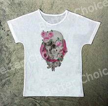 Track Ship+New Vintage Retro Fresh T-shirt Tee Grey Skeleton Skull Smile Pink Rose Flower Leaf 1265(Hong Kong)