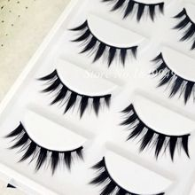 5 Pairs False Eyelashes Natural Long Sharp Tail Crisscross Soft Fake Eyelashes 100% Handmade Cotton Stems Makeup Stage Lashes(China)