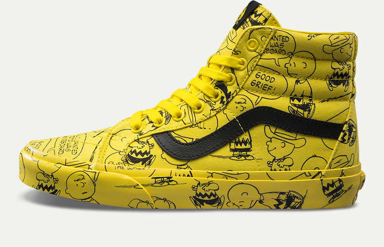 vans peanuts yellow high top