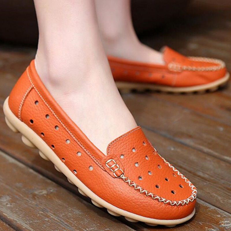 2017 Breathable Genuine Leather Flat Shoes Wear-resistant Cowmuscle Sole Women Casual Shoes Womens Loafers JJ801-1<br><br>Aliexpress