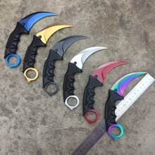 10pcs/lot CSGO Counter Strike Black Karambit Knife Neck Knife RED with Sheath Tiger Tooth Real game Knife Factory Wholesale gift