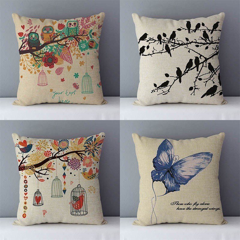 Vintage Bird Butterfly Series Cotton Linen Pillow Case Waist Throw Cushion Cover