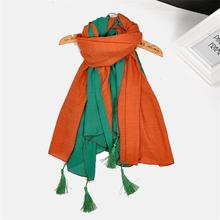 Free Shipping Autumn Spring Women Cotton Scarf Double Layer Maxed Color Warm Scarf Comfortable Casual Female Clothing Accessory