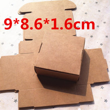 50Pcs 9*8.6*1.6cm Brown Carton Kraft Packing Box Wedding Favor and Gift Box Candy Box for Guest Handmade Soap Favors Paper Box(China)