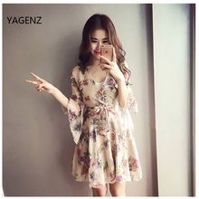 Butterfly Sleeve 2017 Women Chiffon Print Three Cute Summer Chiffon Dress Fashion Casual Sexy Dress Top Fashion Chiffon A059