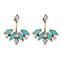 Blue / Champagne Resin Geometric Stud Earrings 2017 Vintage Ear Jackets Allibaba Online Shopping India Jewelry(China)