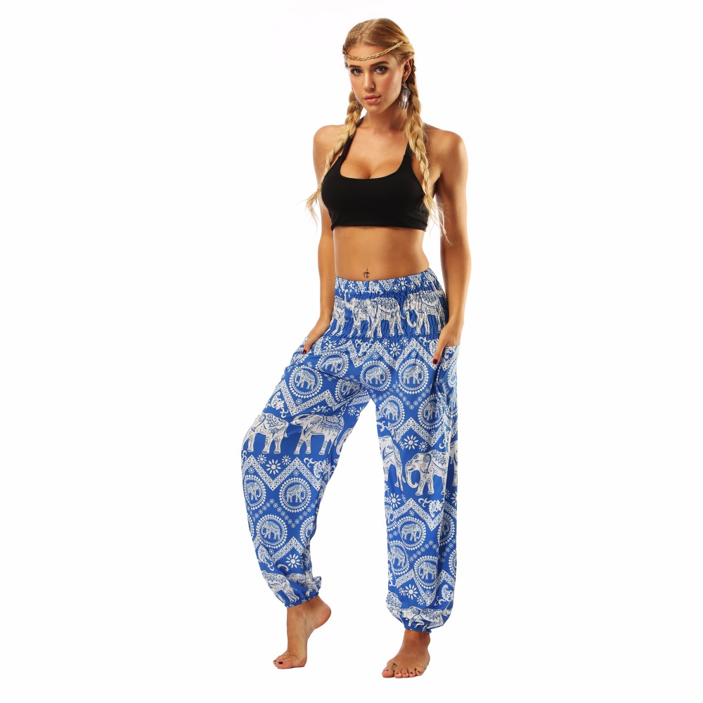 TL009- blue and white elephant wide leg loose yoga pant leggings (3)