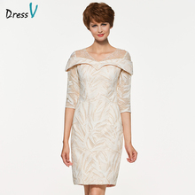 Dressv knee length v neck mother of bride dress with 3/4 sleeves beading sequins long lace mother evening gown custom(China)
