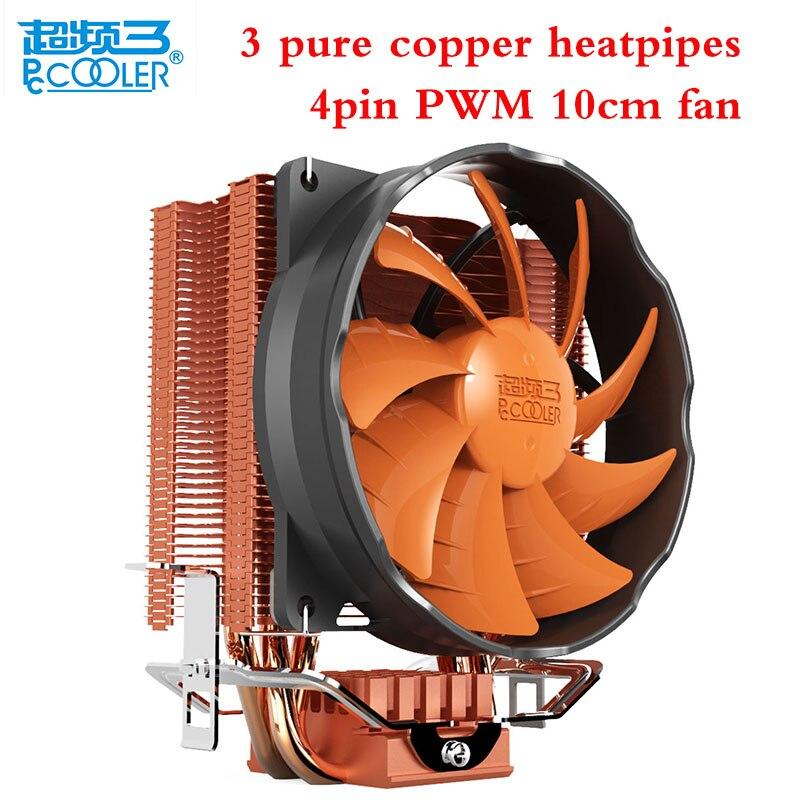 Pccooler S90H 3 heatpipes cpu cooler fan 4pin PWM 10cm/100mm fan for AMD/Intel 775 1156 1150 1155 1151 cpu cooling radiator fan<br>
