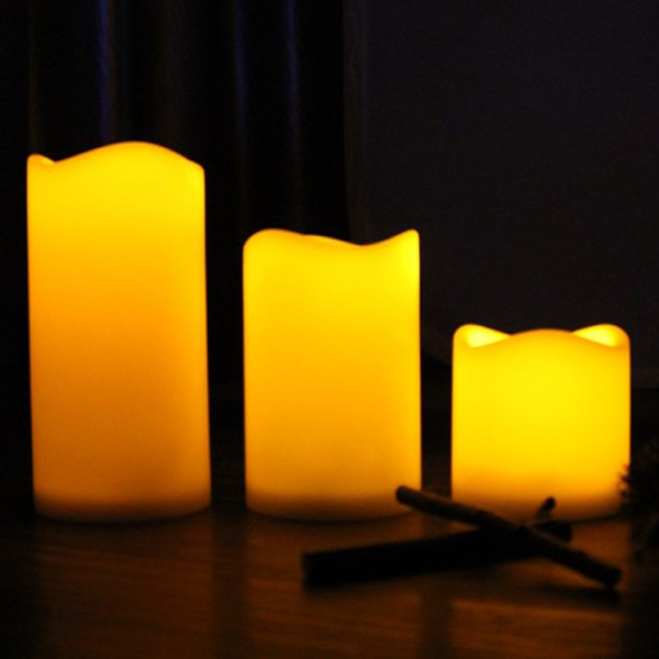 3pcs Set Decorative Led Flameless Wax Pillar Candles Battery Operated Candle Light Electronic T35