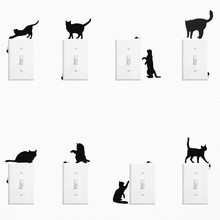 Naughty Black Cat Mouse Switch Sticker For Kids Bedroom Parlor Home Decor Phone Living Room Decal Wallpaper