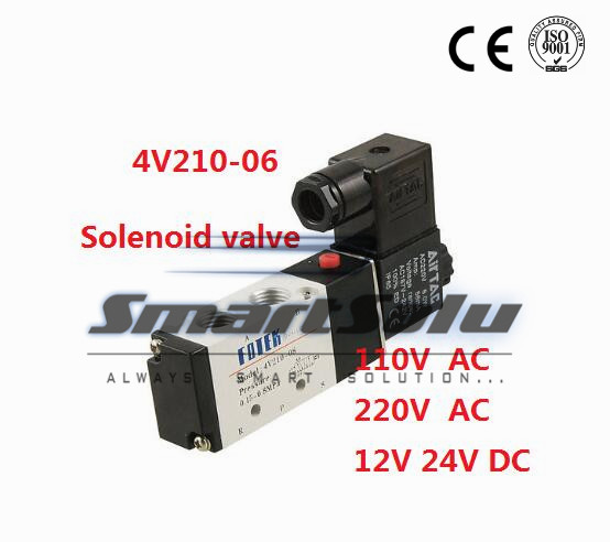 Free shipping solenoid valve 4V210-06 Double coil Port 1/8 BSP 110V AC 5/2 way control valve with Plug type red LED light<br><br>Aliexpress
