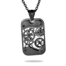 Stainless Steel Titanium Steampunk Necklaces & Pendants Gear Square Mechanical Necklace Men Jewelry punk Rock 35mmx21mm