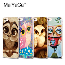 Owl Phone Case  For iPhone 5s 6s 7 plus Lovely Owl big eye on the tree Transparent TPU Soft Cell Phone Protective Cover case