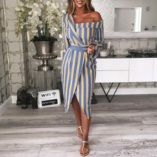 99dfcbc6044b misomee 2018 Summer Women Elegant Full Sleeve Casual Office Striped Party  Dress