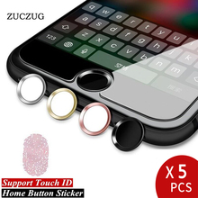 Wholesale 5PCS/LOT, ZUCZUG Aluminum Touch ID Home Button Sticker For iPhone 8 7 6 6s Plus Support Fingerprint Identification Key