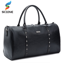 2018 Hot Top Quality PU Female Male Classic Soft Leather Zip Fitness Gym Bag Black Designer Shoulder Travel Bag Large Size(China)