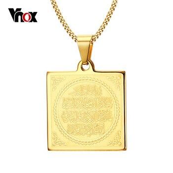 """Vnox moslin oração colar banhado a ouro dos homens colares & pingentes jóias livre 24 """"cadeia"""