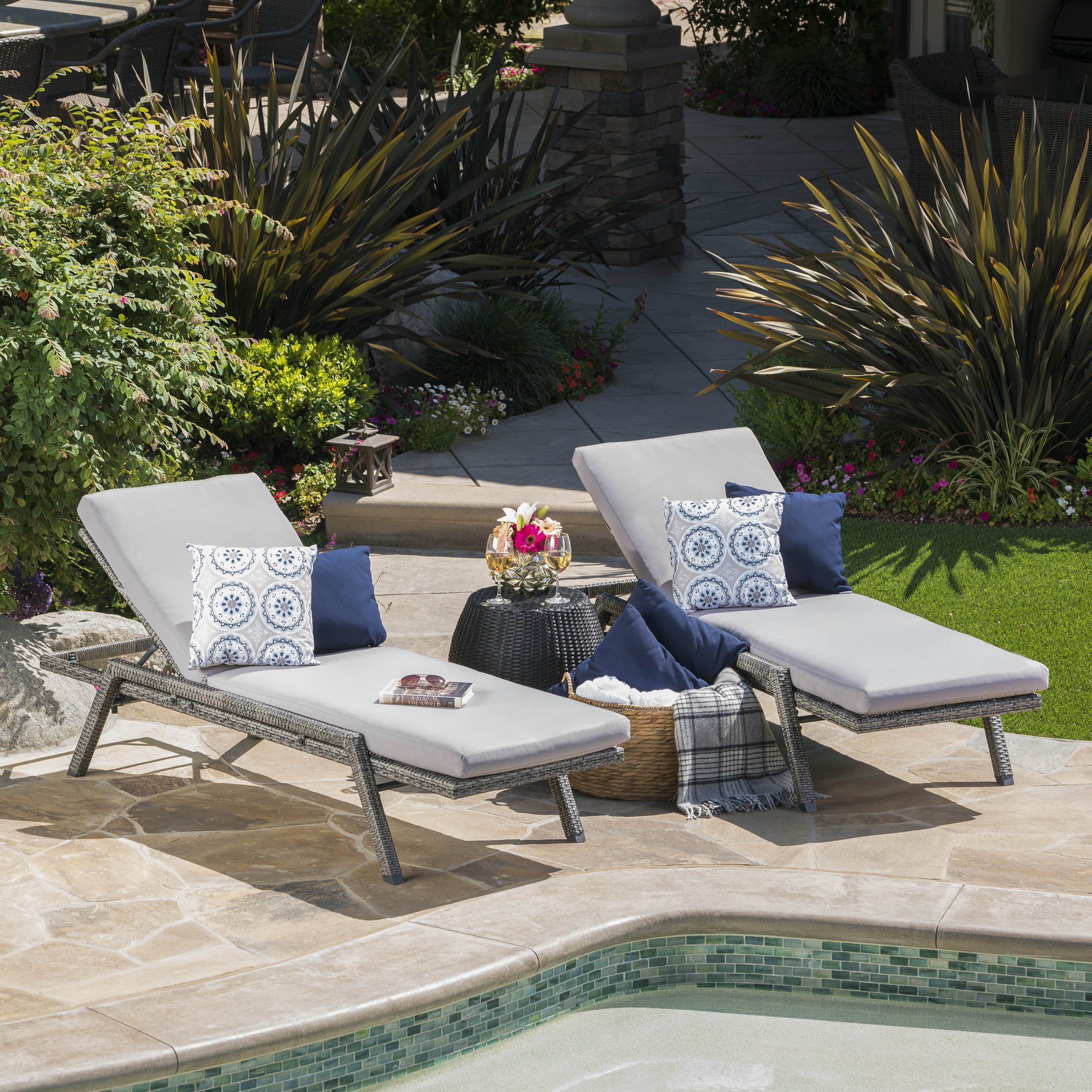 Fiora Outdoor Wicker Chaise Lounge w/ Grey Water Resistant Cushion (Set of 2)