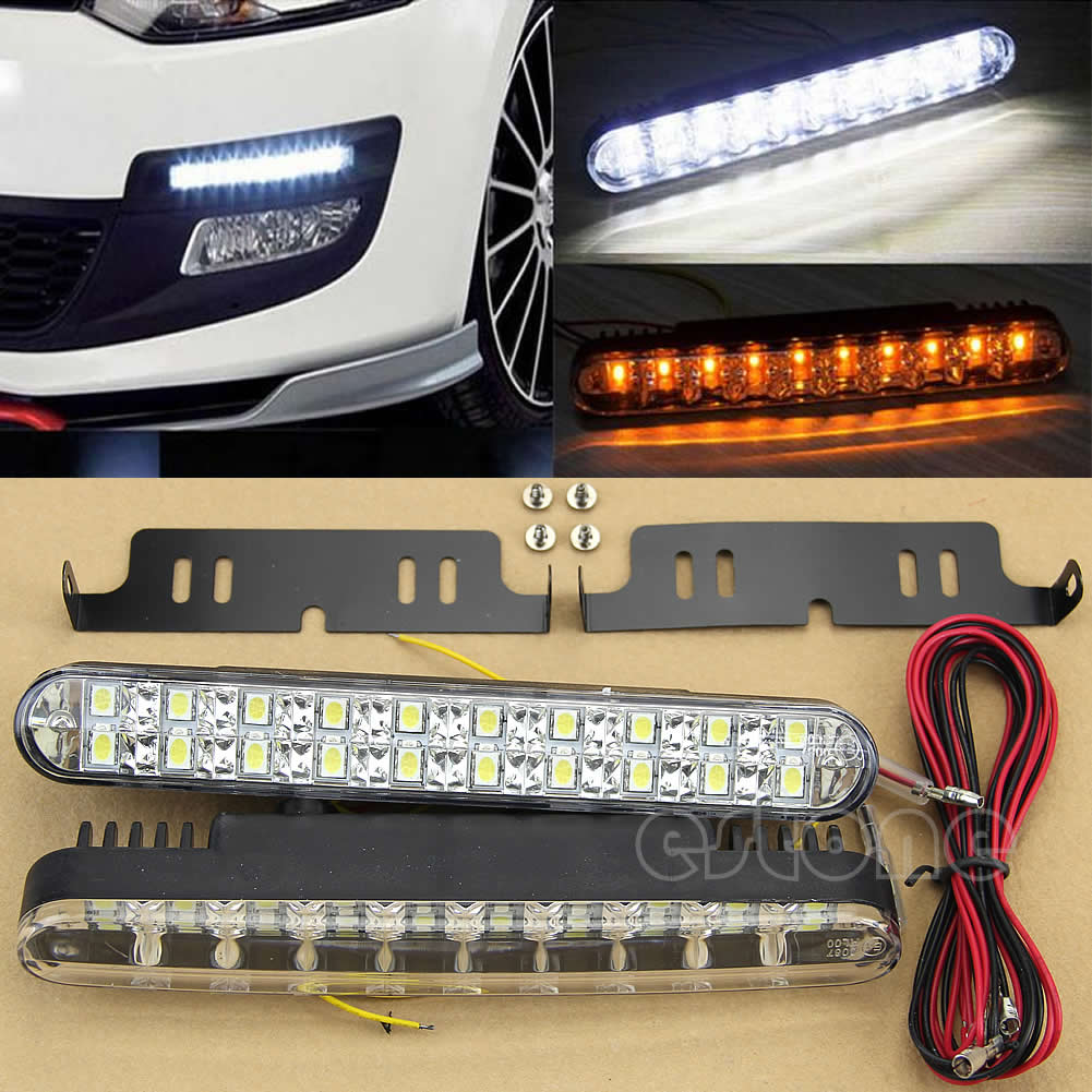 2pcs 12V 30 LED Car Daytime Running Light DRL Daylight Lamp with Turn Lights<br><br>Aliexpress