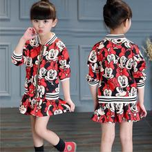 suits 2017 New arrival Autumn girls T-shirt + skirt 2pcs clothing Cartoon Minnie printing bow dress childrens skirt suit