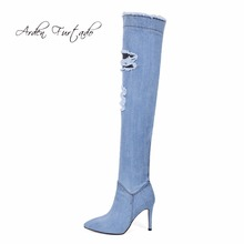 Arden Furtado 2017 new blue denim boots over the knee thigh high boots shoes for women high heels woman shoes tassel jeans boot(China)