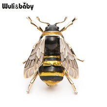 Wuli&Baby Enamel Bumblebee Brooches Men Women's Alloy Yellow Bee Insect Brooch Christmas Gift Broche Banquet Pins(China)