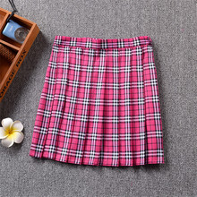 Summer Style 2017 Hot Midi Pleated Women Skirts High Waist Red A-Line Short Skirts Uniforms School Plaid Skirt Saias Y3104