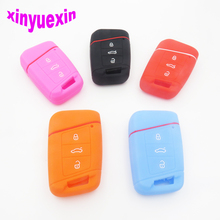 Xinyuexin Silicone Car Key Cover Case For VW Magotan Passat B8 Skoda A7 Smart Remote Key Protector keychain Jacket Car-Stying
