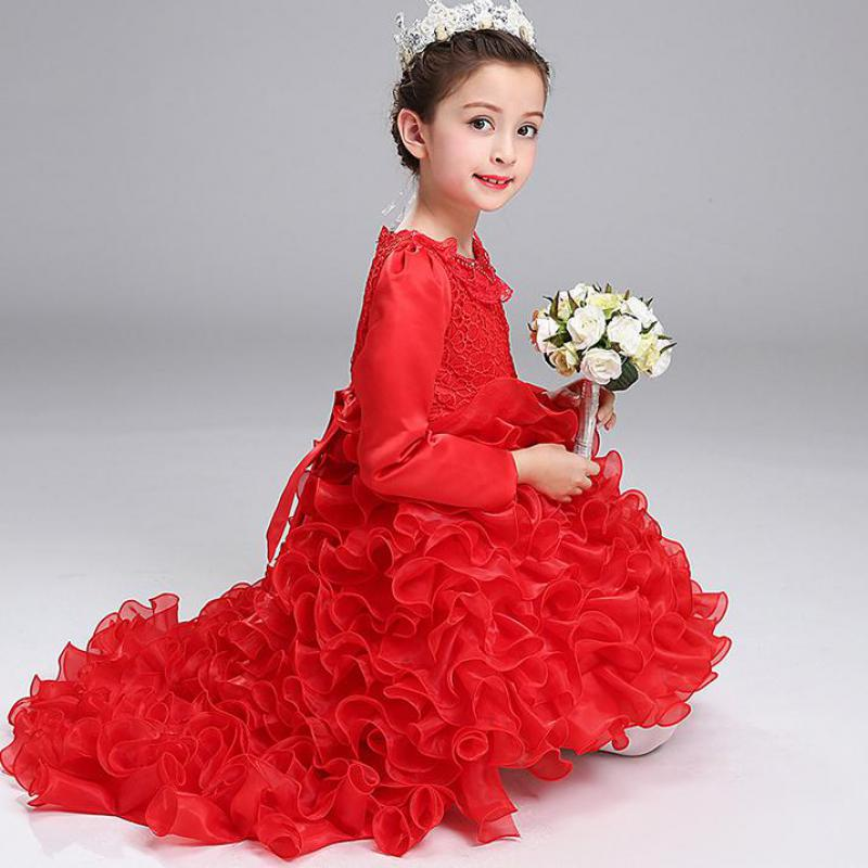 Girls Party Dresses Elegant 2017 Summer Long Sleeve Flower Long Tail Princess Girls Dress Children Kids Wedding Birthday Dresses<br>