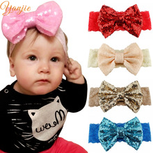 Solid Lace Elastic Hair Bands For Girls 2017 Big Sequin Bow Lace Headband Hair Bows Glitter Headbands Hairband Hair Accessories(China)