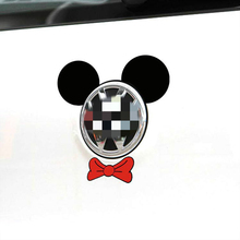 Cartoon Car Sticker Mickey Mouse Ear and Tie Accessories Funny Decal for Motorcycle Volkswagen Polo Golf 4 5 6 7 Skoda BMW(China)