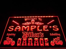 DZ051- Name Personalized Custom Biker's Garage Motorcycle Repair Bar  LED Neon Light Sign