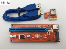 Red VER007S 0.6M PCI-E 1X to 16X Riser Card Extender PCI Express Adapter USB 3.0 Cable 15Pin SATA Power for Bitcoin Miner Mining(China)