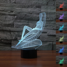 Fding 3D Optical Illusion Lamp Abstract People Sunbathe Night Light 7 Color Changing Touch Mood light Kids Lover's Holiday Gift