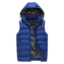 New Mens Hooded Jacket Sleeveless Vest Winter Fashion Casual Coats Male Cotton-Padded Men's Vest Men Thicken Waistcoat L-4XL(China)